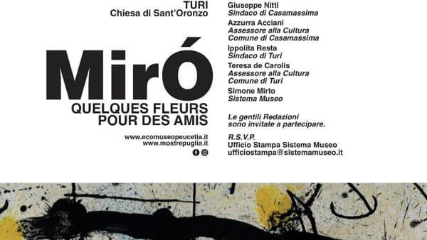 I colori e le emozioni in libertà di Joan Miró arrivano a Gioia del Colle, Casamassima e Turi