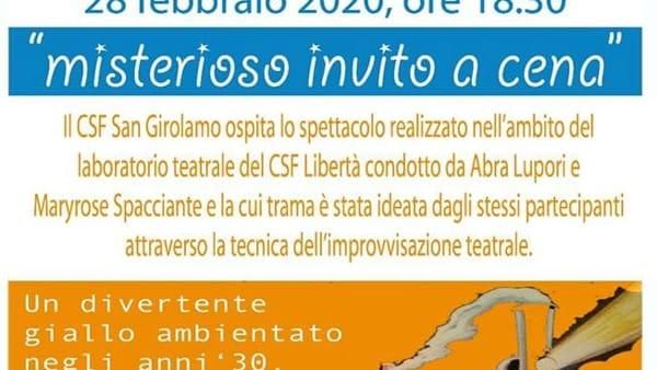 """""""Un misterioso invito a cena"""": lo spettacolo della compagnia degli utenti del Centro servizi famiglie del Libertà"""