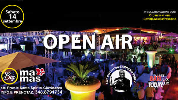 Open air al Big mamas live percussion e dj set