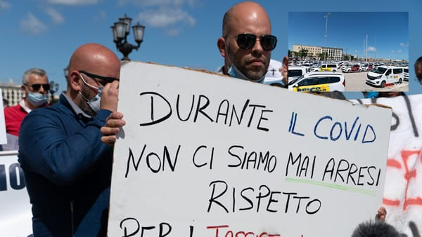 """""""La ripresa? Per noi nel 2021"""". Tassisti da tutta la Puglia in protesta sul lungomare: """"Ci siamo messi a disposizione nell'emergenza"""""""