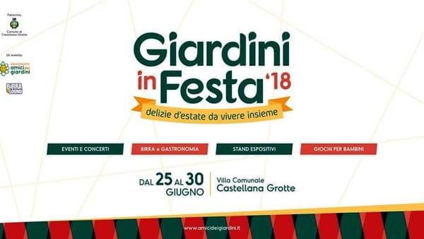 """A Castellana Grotte """"Giardini in Festa – delizie d'estate da vivere insieme"""", musica, spettacoli, birra artigianale e gastronomia"""