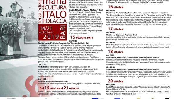 """""""Settimana della cultura italo polacca"""", proiezioni, mostre e concerti"""