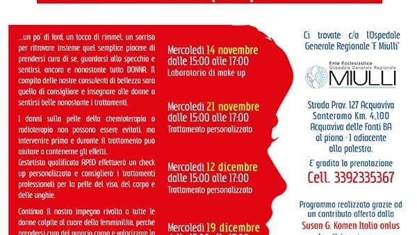"""Laboratorio di make up per donne in oncologia all' Ospedale """"F. Miulli"""""""