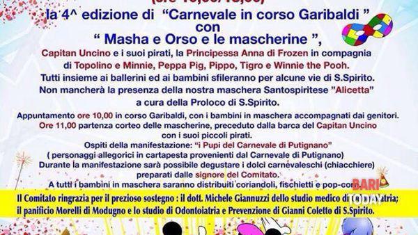 Santo Spirito in festa con il Carnevale in Corso Garibaldi
