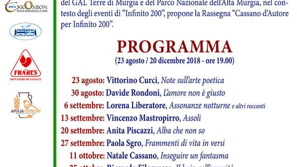 """Vincenzo Mastropirro con i suoi """"Assoli"""" a """"Cassano d'autore per infinito 200"""""""