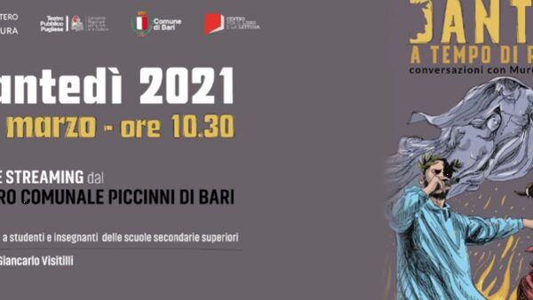 Bari celebra il Dantedì con un talk di Murubutu: in streaming dal Teatro Piccinni 700 studenti in occasione dell'Anno Dantesco