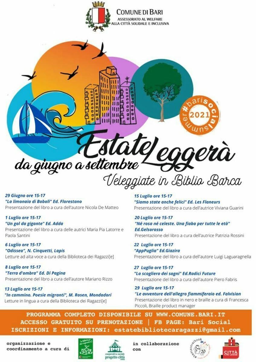 """""""Estate leggerà"""" - Bari Social Summer 2021: al via gli appuntamenti con le """"Veleggiate sociali"""" e le """"Storie in panchina"""""""