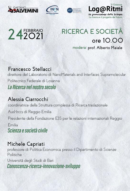 Parte la quinta edizione di «Log@Ritmi», il festival di divulgazione organizzato dal Liceo Scientifico Gaetano Salvemini
